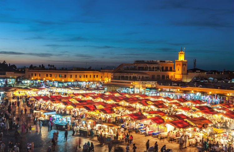 The Medina in Marrakesh, Morocco at night